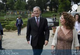 Romano Prodi arriving at the Historical Archives of the EU