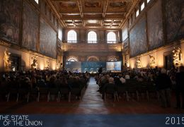Salone dei Cinquecento during the keynote speech by Matteo Renzi
